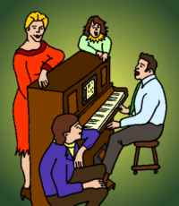 A Family Gathered Around a Pianola