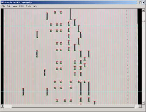 Screen Capture of Program to Record Note Positions